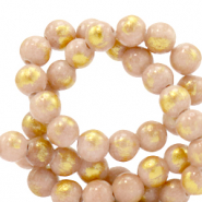 4 mm natural stone beads Jade Vintage Pink-Gold