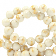 6 mm natural stone beads Jade Beige-Gold