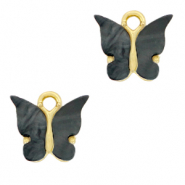 Charm with 1 loop butterfly Anthracite-Gold