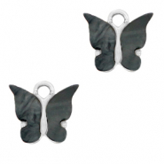 Charm with 1 loop butterfly Anthracite-Silver