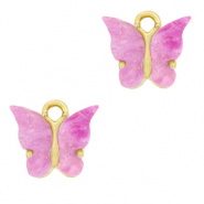 Charm with 1 loop butterfly Lilac Purple-Gold