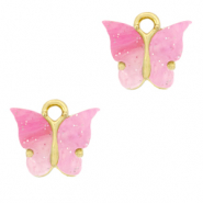 Charm with 1 loop butterfly Pink-Gold