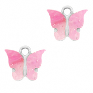 Charm with 1 loop butterfly Pink-Silver