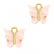 Charm with 1 loop butterfly Light Pink-Gold