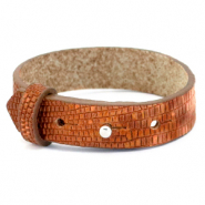 Cuoio bracelet leather croco 15 mm for 20 mm cabochon Samba Orange