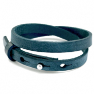 Cuoio bracelets leather 8mm double for 12mm cabochon Blue Depths