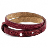 Cuoio bracelets leather 8mm double croco for 12mm cabochon Magenta Purple