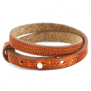 Cuoio bracelets leather 8mm double croco for 12mm cabochon Samba Orange