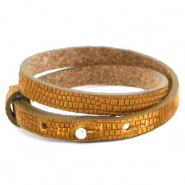 Cuoio bracelets leather 8mm double croco for 12mm cabochon Golden Harvest
