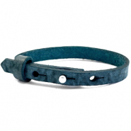 Cuoio bracelets leather 8mm for 12mm cabochon Blue Depths