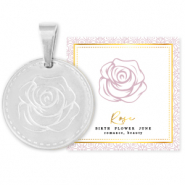 Stainless steel Mix & Match charms 15mm Birth flower June-Rose Silver
