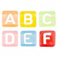 Acrylic letter beads mix Multicolour Transparant-White