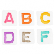 Acrylic letter beads mix White-Multicolour