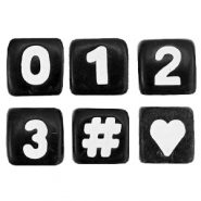 Acrylic letter beads mix numbers, ♥, # Black-White