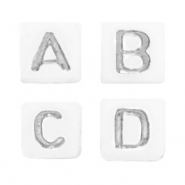 Acrylic letter beads mix White-Silver