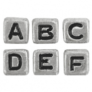 Acrylic letter beads mix Metal look Antique Silver
