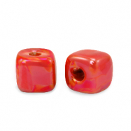 DQ greek ceramic beads cube 8mm True Red