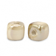 DQ greek ceramic beads cube 8mm Sand Brown