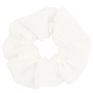 Scrunchie woven hair tie White