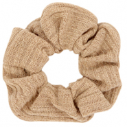 Scrunchie woven hair tie Camel Brown