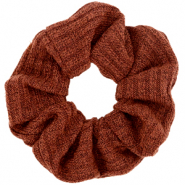 Scrunchie woven hair tie Rust Brown