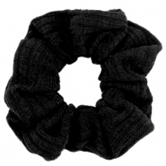 Scrunchie woven hair tie Black