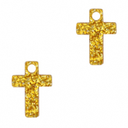 Plexx charms cross glitter Golden Yellow