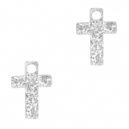 Plexx charms cross glitter Silver