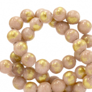 6 mm natural stone beads Jade Vintage Pink-Gold