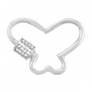 DQ European metal findings clasp zirconia butterfly Antique Silver (nickel free)