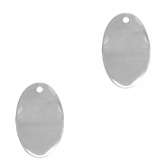 DQ European metal charms oval Antique Silver (nickel free)