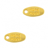 "DQ European metal charms tag ""handmade"" Gold (nickel free)"
