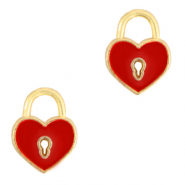 DQ European metal charms heart Gold-Red (nickel free)