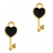 DQ European metal charms key Gold-Black (nickel free)