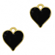 DQ European metal charms heart Gold-Black (nickel free)