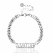 "Stainless steel bracelets chain link ""AMOUR"" Silver"
