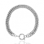 Stainless steel bracelets chain link bolt ring clasp Silver