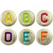 Acrylic letter beads mix Gold-Multicolour
