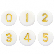 Acrylic letter beads mix numbers White-Gold