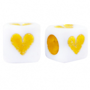 Acrylic letter beads hearts White-Gold