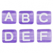 Acrylic letter beads mix Purple-White