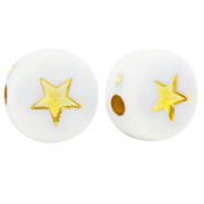 Acrylic letter beads star White-Gold