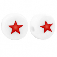 Acrylic letter beads star White-Red