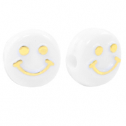 Acrylic letter beads smiley White-Gold