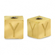 Stainless steel beads letter Y Gold