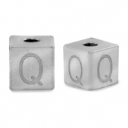 Stainless steel beads letter Q Silver