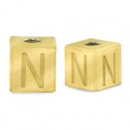 Stainless steel beads letter N Gold