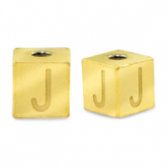 Stainless steel beads letter J Gold