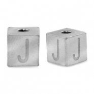Stainless steel beads letter J Silver