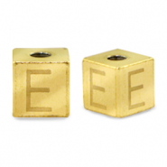 Stainless steel beads letter E Gold